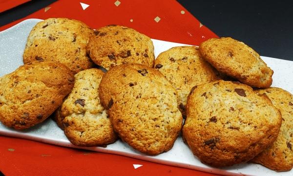 Cookies aux bananes et chocolat noir à retrouver sur mon blog de pâtisserie